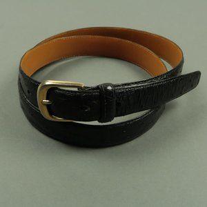 A.testoni Genuine Ostrich Black Dress Belt Size 36